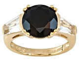 Black Spinel 18k Yellow Gold Over Sterling Silver Ring 6.06ctw