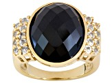 Black Spinel And White Topaz 18k Yellow Gold Over Sterling Silver Ring 10.72ctw