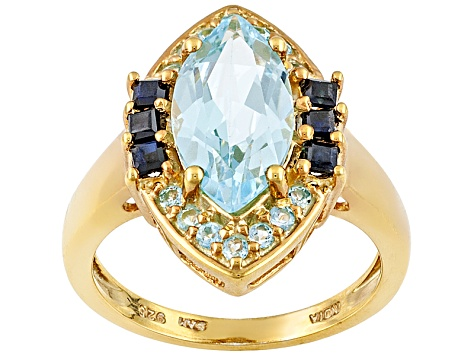 Sky Blue Topaz And Black Sapphire 18k Yellow Gold Over Sterling Silver Ring 4.29ctw
