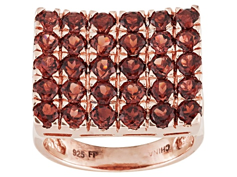 Red Garnet And White Zircon 18k Rose Gold Over Sterling Silver Ring 4.86ctw