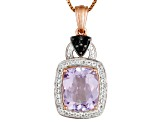 Orchid Amethyst 18k Rose Gold Over Silver Pendant With Chain 5.39ctw
