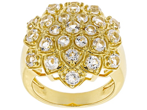 White Topaz 18k Yellow Gold Over Silver Cluster Ring 3.06ctw
