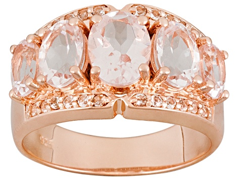 Pink Morganite And White Topaz 18k Rose Gold Over Silver Ring 3.53ctw