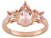 Pink Morganite 18k Rose Gold Over Silver 3-Stone Ring 2.05ctw