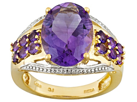 Purple Amethyst 18k Yellow Gold Over Silver Ring 6.84ctw
