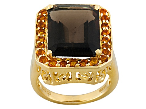 Brown Smoky Quartz 18k Yellow Gold Over Silver Ring 11.66ctw