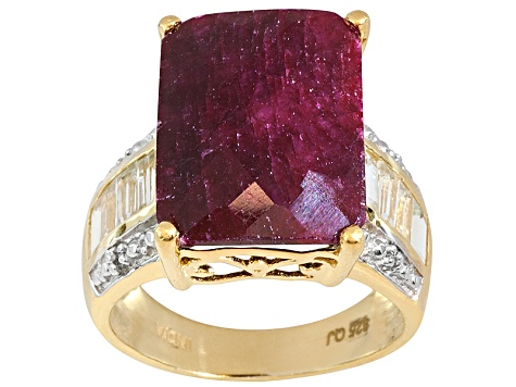 Red Corundum 18k Yellow Gold Over Sterling Silver Ring 13.76ctw