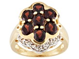 Red Garnet 18k Yellow Gold Over Silver Floral Ring 3.63ctw