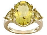 Champagne Quartz 18k Gold Over Silver 3-Stone Ring 7.06ctw