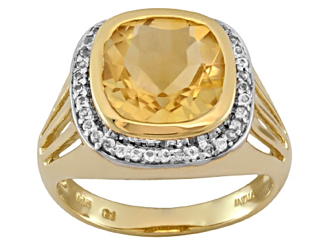 Golden Citrine And White Topaz 18k Yellow Gold Over Sterling Silver Ring 3.78ctw