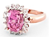 Pink Lab Sapphire And White Topaz 18k Rose Gold Over Sterling Silver Ring 4.21ctw