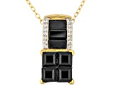 Black Spinel And White Zircon 18k Gold Over Silver Pendant With Chain 2.00ctw