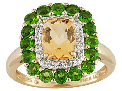 Citrine, Chrome Diopside And White Zircon 18k Yellow Gold Over Sterling Silver Ring 2.31ctw