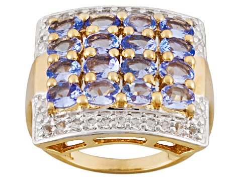 Blue Tanzanite 18k Yellow Gold Over Silver Ring 2.31ctw