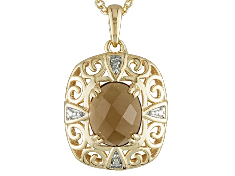 Yellow Quartz 18k Yellow Gold Over Sterling Silver Pendant With Chain 2.22ctw