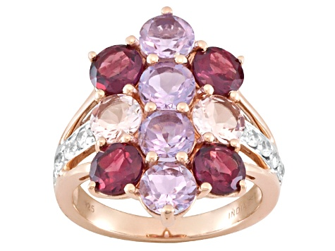 Purple Amethyst 18k Rose Gold Over Sterling Silver Ring 4.82ctw