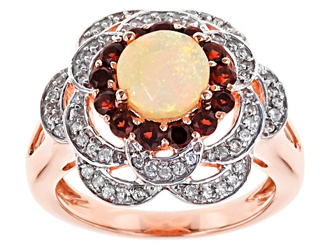 Ethiopian Opal, Garnet And White Zircon 18k Rose Gold Over Silver Ring 1.36ctw