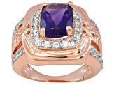Purple Amethyst And White Zircon 18k Rose Gold Over Silver Ring 2.05ctw