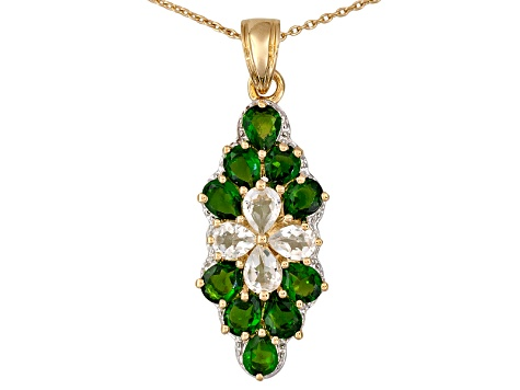Green Chrome Diopside 18k Gold Over Silver Pendant With Chain 4.20ctw