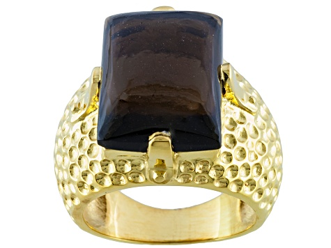 Brown Smoky Quartz 18k Yellow Gold Over Sterling Silver Ring