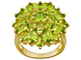 Green Peridot 18k Yellow Gold Over Silver Ring 6.59ctw