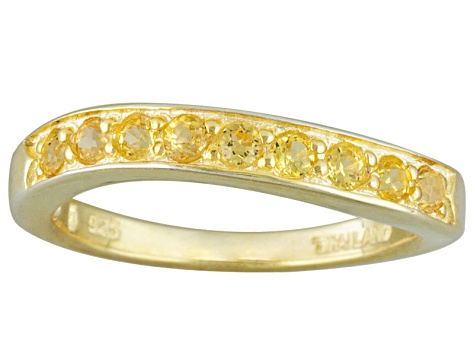 Yellow Sapphire 18k Yellow Gold Over Silver Band Ring .47ctw