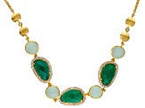 Green Onyx, Chalcedony And White Topaz 18k Yellow Gold Over Silver Necklace .87ctw