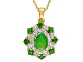 Green Ethiopian Opal 18k Gold Over Silver Pendant With Chain 1.60ctw