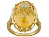 Yellow Citrine 18k Yellow Gold Over Silver Ring 10.00ct
