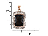 Brown Smoky Quartz 18k Rose Gold Over Silver Pendant With Chain 12.88ctw