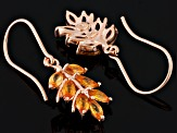 Orange Sapphire 18k Rose Gold Over Silver Earrings 2.00ctw