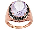 Orchid Amethyst And Black Spinel 18k Rose Gold Over Silver Ring 5.70ctw