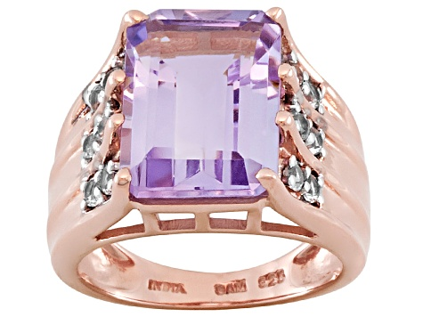 Pink Amethyst 18k Rose Gold Over Sterling Silver Ring 6.05ctw
