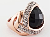 Black Spinel And White Topaz 18k Rose Gold Over Sterling Silver Ring 9.33ctw