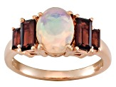 Ethiopian Opal And Garnet 18k Rose Gold Over Silver Ring 1.95ctw