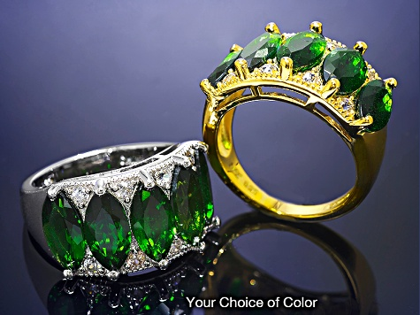 Green Chrome Diopside 18k Yellow Gold Over Silver Ring 5.46ctw