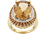 Golden Quartz 18k Yellow Gold Over Silver Ring 10.66ctw