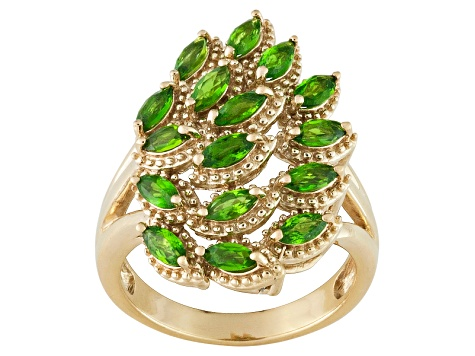 Green Chrome Diopside 18k Yellow Gold Over Silver Ring 1.22ctw