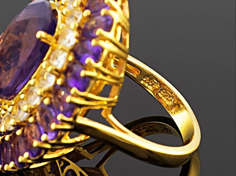 Purple Amethyst And White Zircon 18k Gold Over Silver Ring 11.40ctw