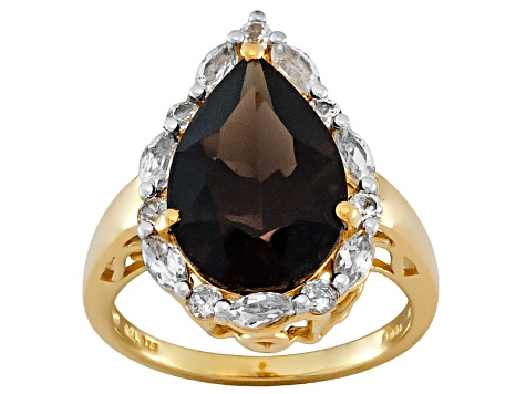 Brown Smoky Quartz And White Topaz 18k Yellow Gold Over Silver Ring 5.33ctw