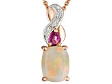 Ethiopian Opal 18k Rose Gold Over Silver Pendant With Chain 1.11ctw
