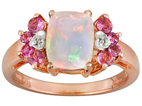 Ethiopian Opal 18k Rose Gold Over Silver Ring 1.35ctw