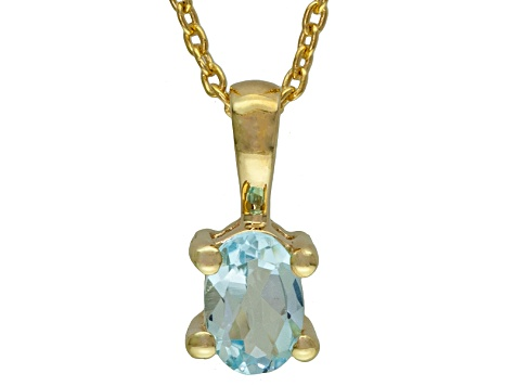 Sky Blue Topaz 18k Yellow Gold Over Silver Pendant With Chain .65ct