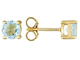 Sky Blue Topaz 18k Yellow Gold Over Silver Stud Earrings 2.20ctw