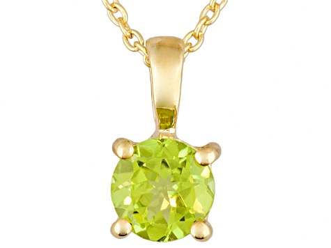 Green Peridot 18k Yellow Gold Over Silver Pendant With Chain 0.90ct