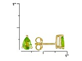 Green Peridot 18k Yellow Gold Over Silver Earrings 1.50ctw