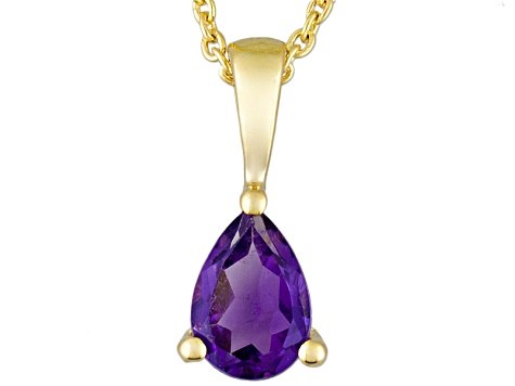 Purple Amethyst 18k Yellow Gold Over Silver Pendant With Chain 0.75ct