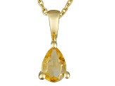 Yellow Citrine 18k Gold Over Silver Pendant With Chain 0.75ct