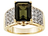 Green Moldavite And White Topaz 18k Yellow Gold Over Silver Ring 2.76ctw