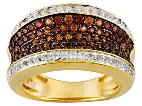 Red Garnet And White Topaz18k Yellow Gold Over Sterling Silver Ring 1.25ctw
